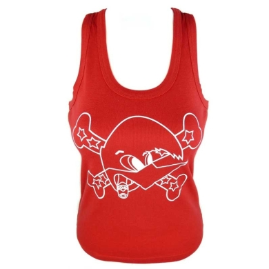 Camiseta roja loquillo tirantes mujer Salud y Rock and Roll