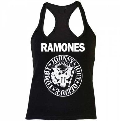 Camiseta mujer Ramones tirante negra